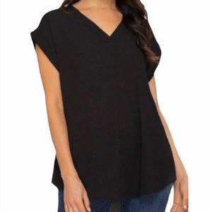 SHE & SKY black vneck cuffed sleeve blouse top S